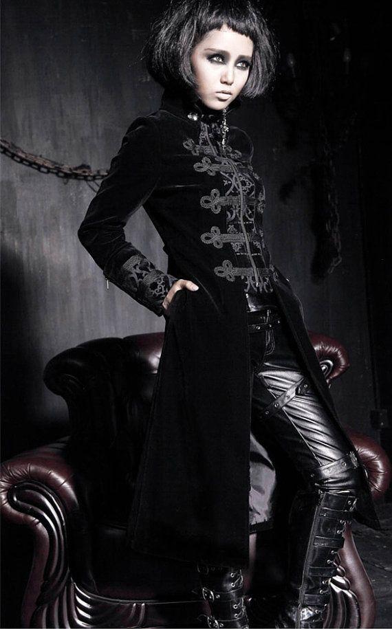 Punk Rave Gothic style coat Edwardian style  black by Studiokimy, $165.00