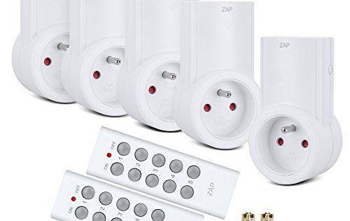 Etekcity Lot de 5 Prises Télécommandées Programmables, Deux Télécommandes Incluses, Fonction All ON/ All OFF, Piles Fournies, Blanc: Facile…