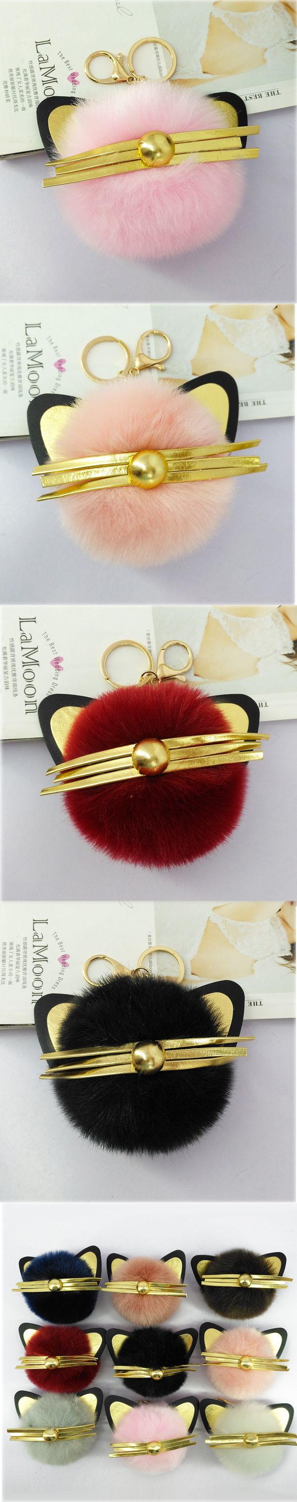 Cute Girls Handmade Pompon Ball Cat Key Chains Pokemon Doll Keyring Wallet Bags Pendants Car Key Decoration Keychains Souvenirs