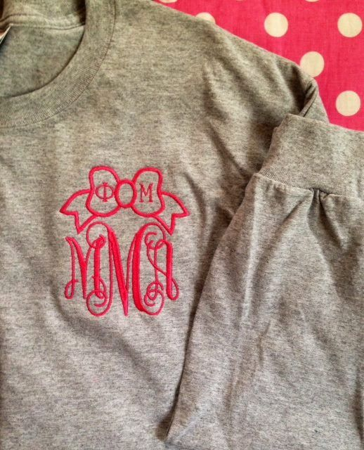 Bow greek letters and monogram embroidered racerback for Cute greek letter shirts