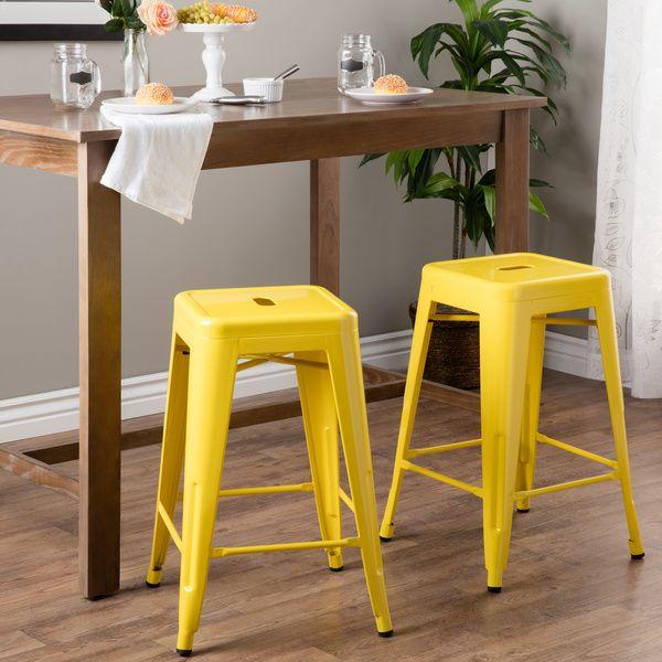 Tabouret 24 Inch Lemon Metal Counter Stools Set Of 2