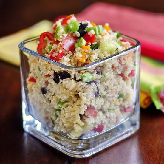 Mediterranean Quinoa Salad - the most popular HEALTHY EATING recipe on RockRecipes.com is also our most popular vegetarian dish as well. Totally easy to make and totally delicious too...plus it can be served hot or cold!