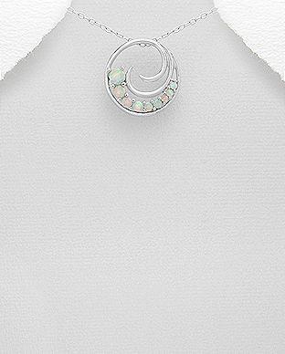 Pandantiv rotund din argint cu opal alb 17-1-i53357 | SilverZone.ro
