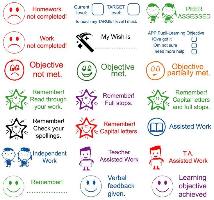 Teacher rubber stamps self inking assorted wording school education reward
