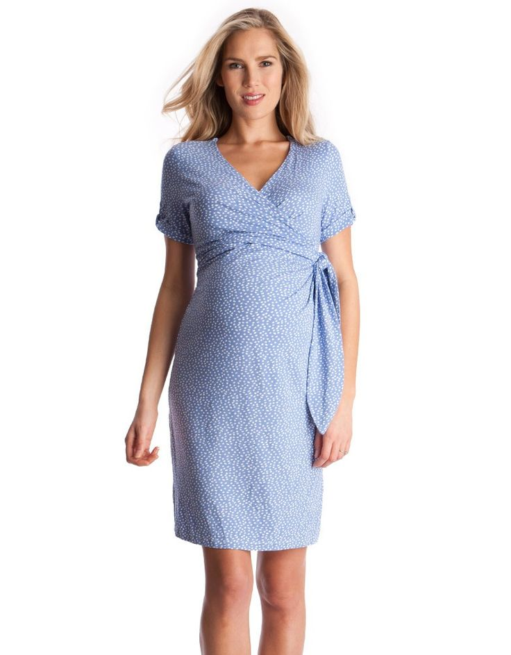 <p>This pretty polka dot maternity dress is perfect for a busy mom-to-be on the go. Made in super-soft stretch jersey, this chic style feels fantastic against your skin, and will grow with you, adapting for a perfect fit throughout your nine months and beyond. In a pretty baby blue polka dot print with a chic side bow detail, this versatile dress can be dressed up or down for any occasion. The sashes tie in a bow under your bust to highlight your empire waist, for a flattering fit. The cute…