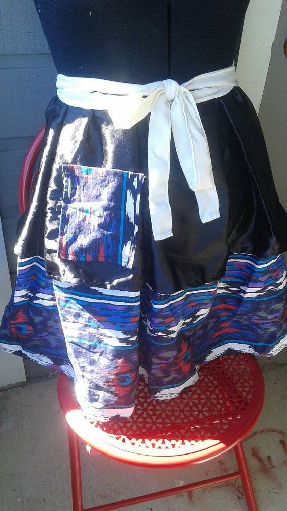 Vintage Inspired Pleated Southwestern Half Apron by Threadendipity