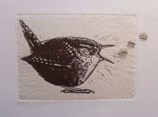 'Wren' Linoprint by Mary Collett on Somerset paper.                                                                                                                                                      More