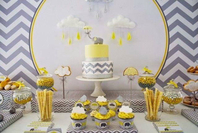 Sou supeita, adoro a combinação cinza e amarelo. Acho chic! Procurando novidades na internete achei essa linda decoração com o tema de elef...