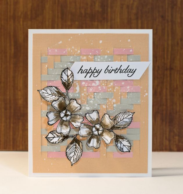 Happy Birthday Card with papercraft weave background, flowers, black, pink, grey, coral colors. cardstock. DCWV paper. creative, crafting, handmade, hand stamped, flowers.
