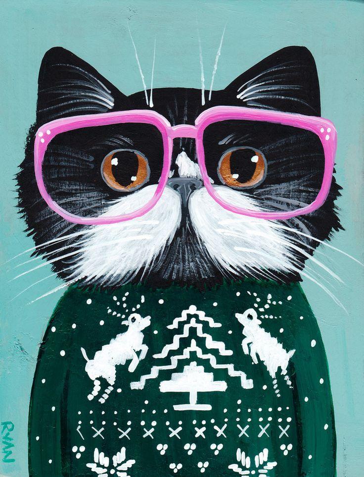 Крутые рисунки кошки, открытку онлайн
