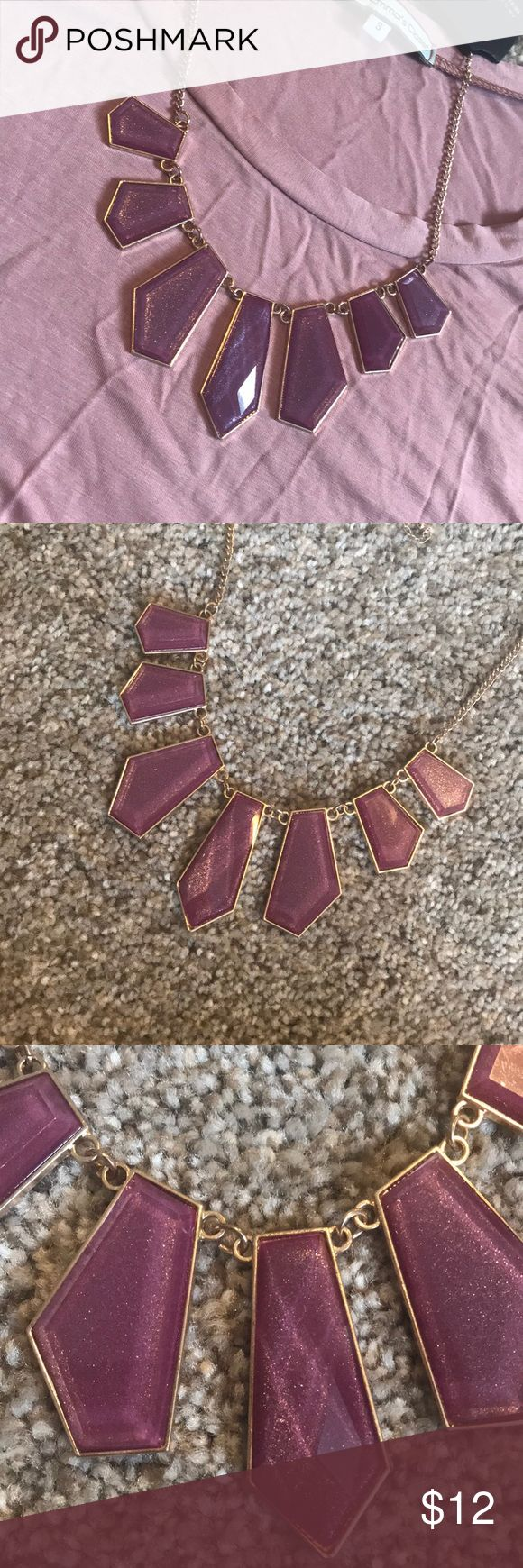 """NWT purple statement necklace NWT- statement necklace with gold hardware and shimmery purple """"gems"""". Jewelry Necklaces"""