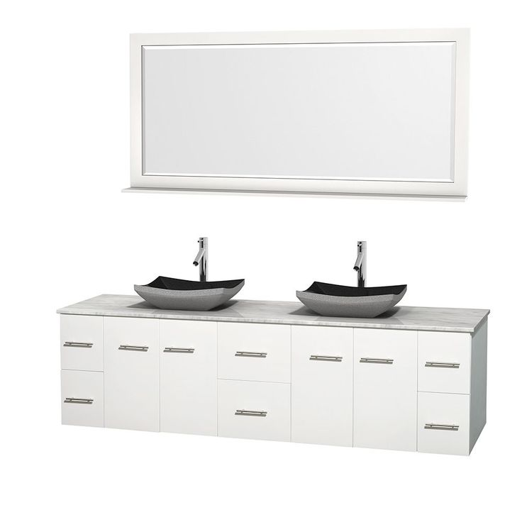 "Wyndham Collection Centra 80-inch Double Bathroom Vanity in White, w/ Mirror (Black Granite, Ivory Marble or White Carrera) (80"" White,WT Carrera Top,Avalon Car Sinks,70"" Mir), Size Double Vanities"