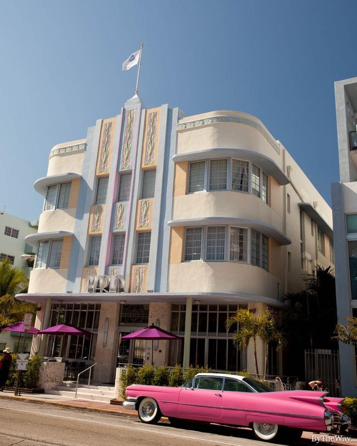 50's vintage car in front of the Marlin, a Miami beach Art Deco hotel. Florida