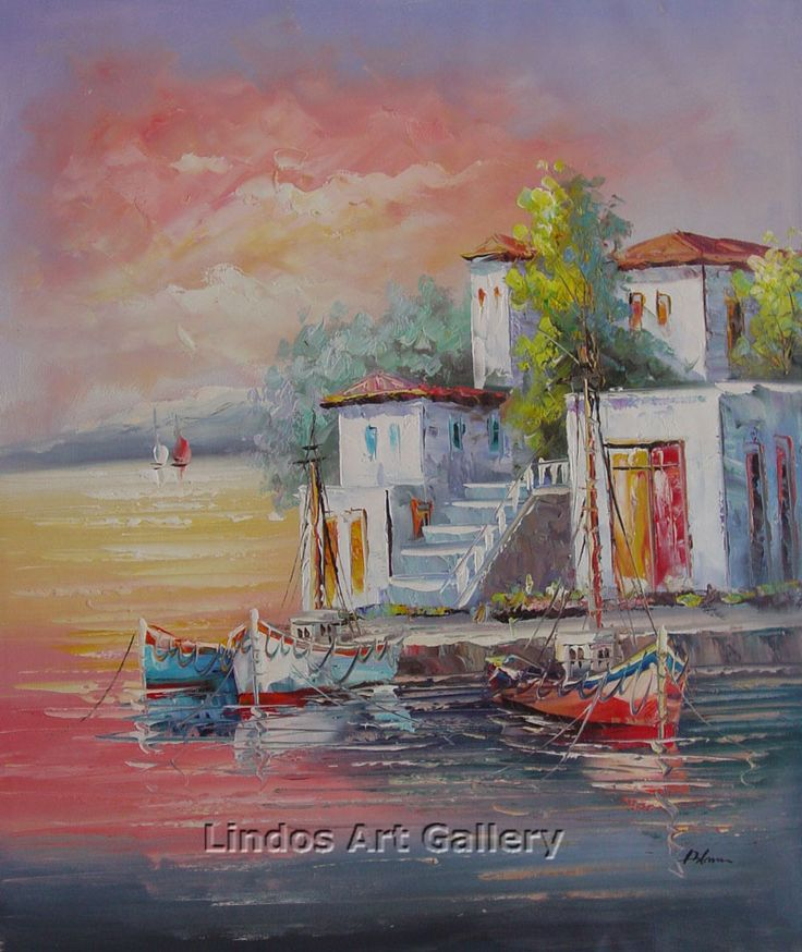 Greek Boats in Harbour OiL Painting
