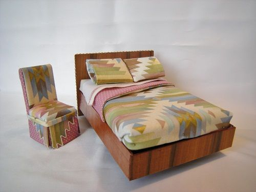 interesting southwestern style dressed platform bed and matching chair