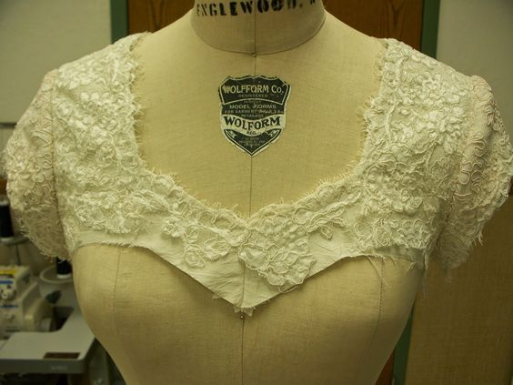How to Add Lace Sleeves and Shoulders to a Strapless Lace and Silk Taffeta Gown
