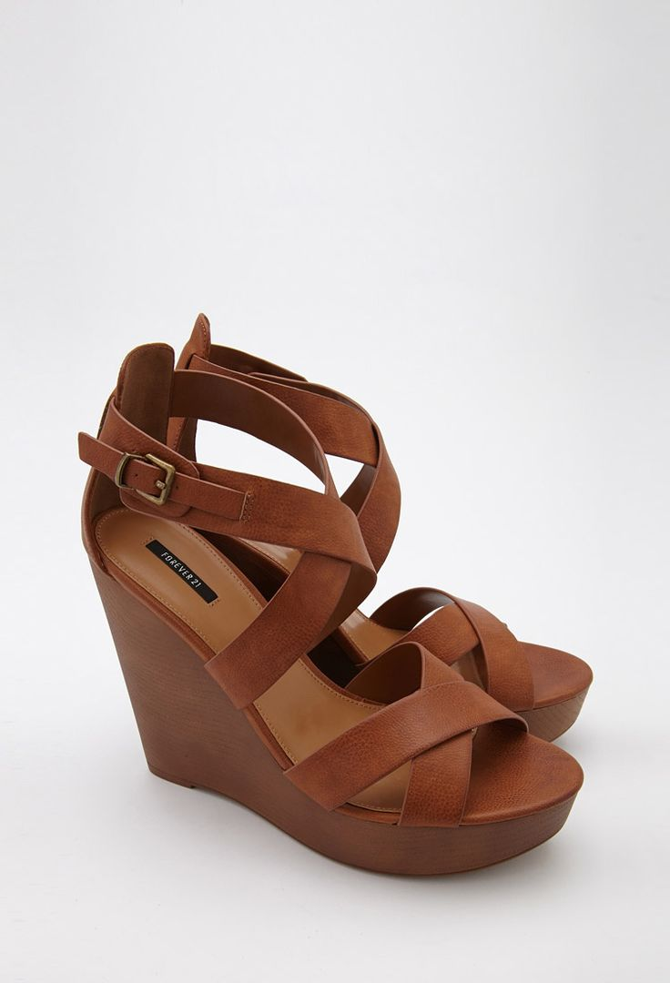 Strappy Faux Leather Wedge Sandals | Forever 21 Canada