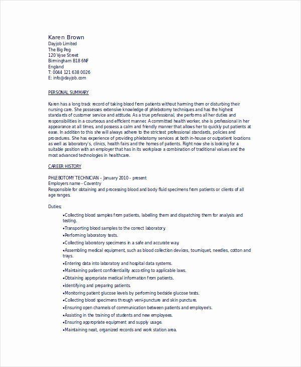 Entry Level Phlebotomist Resume Inspirational 6 Phlebotomy Resume Templates Pdf Doc Job Resume Samples Phlebotomist Job Resume