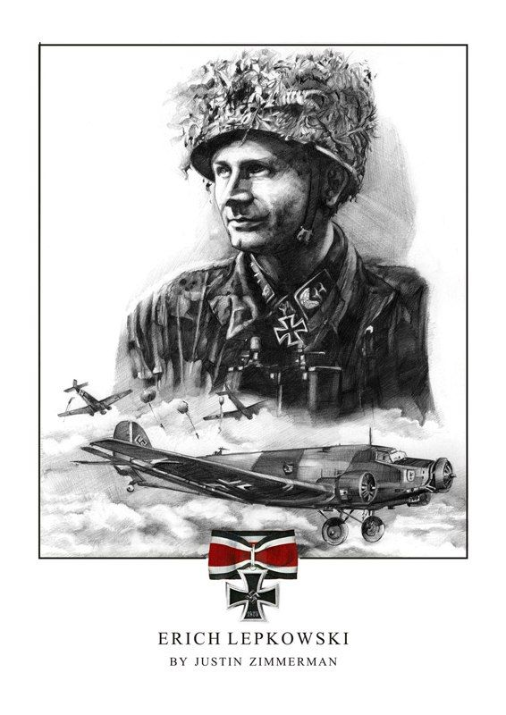 ✠ Erich Lepkowski (17 September 1919 - 31 May 1975) Knight's Cross .  Fallschirmjager fought in Corinth , Crete , Russia and France . Lead the Brasprats Raid and rescued 130 Fallschirmjager .