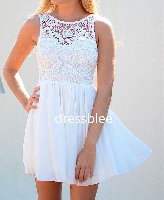Chiffon & Lace Bridesmaid Dress, A-line Straps Scoop Short Lace/ Chiffon Bridesmaid Dress