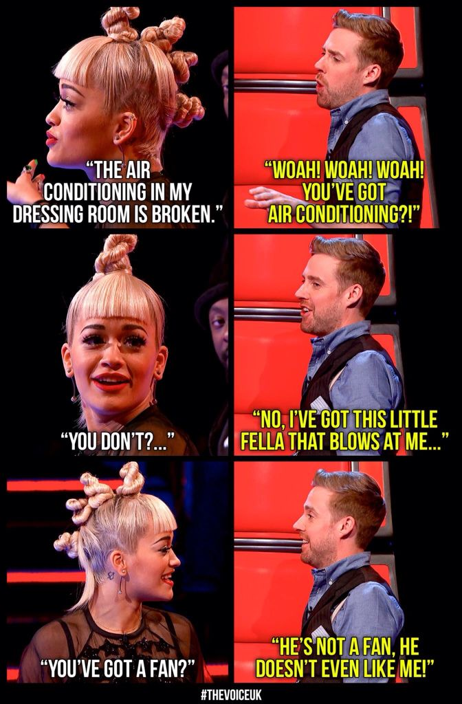 Ricky Wilson and Rita Ora on The Voice, I ship these two!