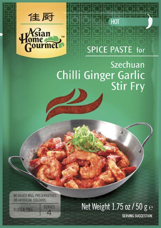 Salsa para saltear con jengibre, chile y ajo estilo Sechuán - 50 gr - Asian Home Gourmet Ingredientes: Salsa de tomate, ajo ( 18,5%), pimiento rojo(16%), jengibre(11%), azúcar, aceite de soja, vinagre natural, sal