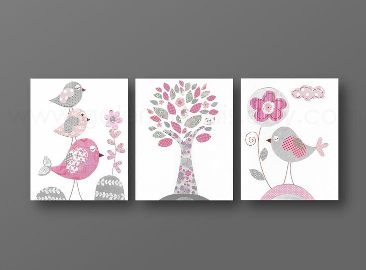 Lot de 3 illustrations pour chambre d'enfant et bebe, rose et gris