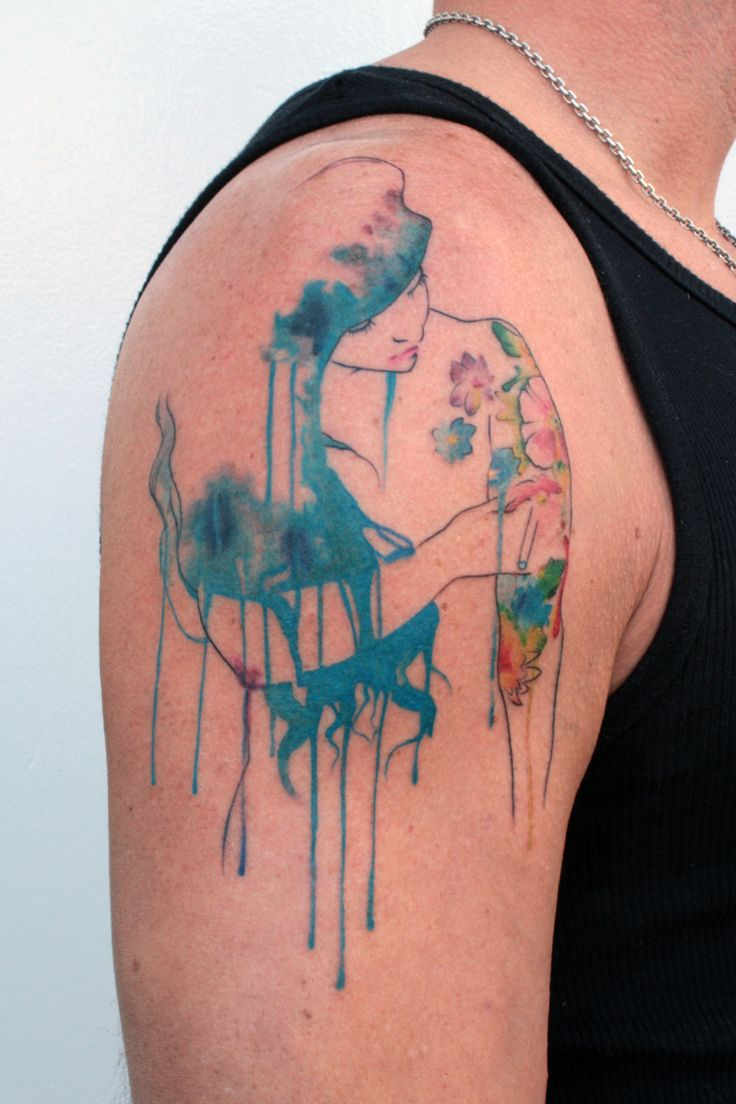Watercolour tattoo girl blue hair inspiration for for What is a watercolor tattoo