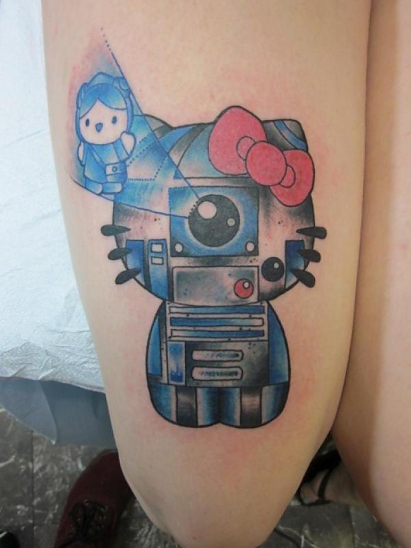Hello Kitty R2D2 Star Wars Tattoo