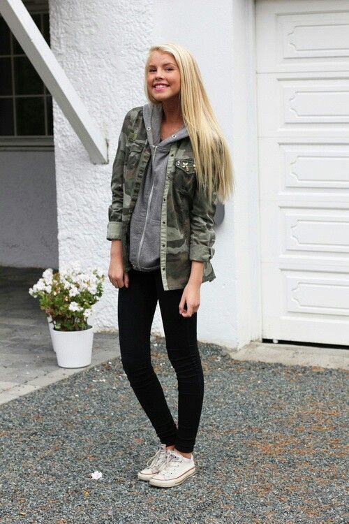 Not a big camo fan, but I like the idea of layering a button-up over a thin sweatshirt.