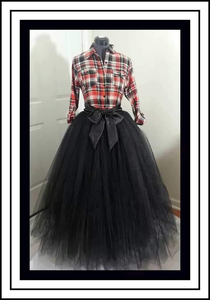 Custom Made Adult Black Tutu Style Skirt Floor Length For