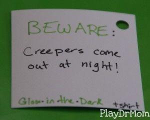 creeper t shirt gift tag