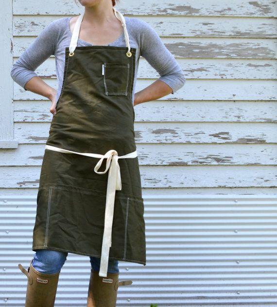 Rustic Utility Full Kitchen Studio Workshop Restaurant Artist Apron for Him or Her in Khaki