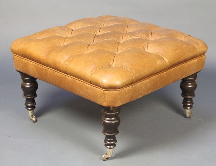 """Lot 874, A square footstool upholstered in buttoned leather 37""""h x 29"""", £100-200"""