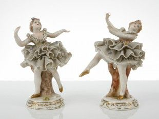 141 2 Porzellan-Figuren Wohl Italien Wohl Manufaktur San Marco Porzellan. H je 13 cm.