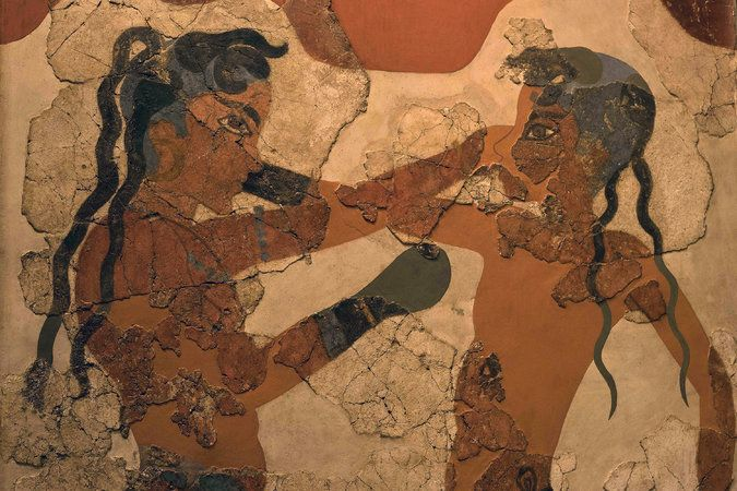 A partial view of an 16th century B.C. fresco of boxers from the island of Santorini. Credit Petros Giannakouris/Associated Press  An Ancient Tsunami That Ended a Civilization Gets Another Look - The New York Times