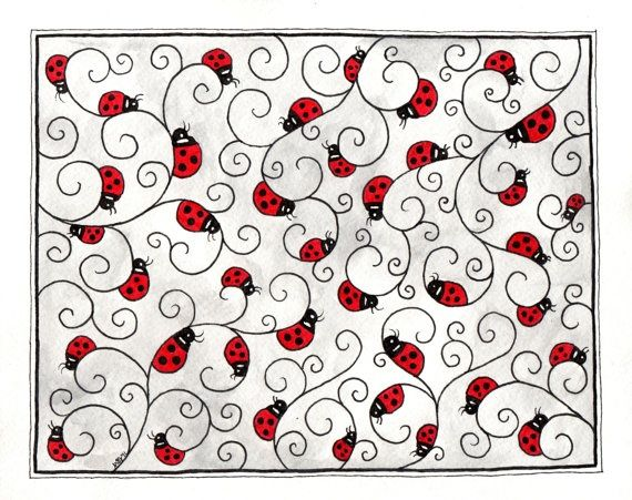 lady bug doodling | Ladybug doodle zentangle. | zenTangle Art