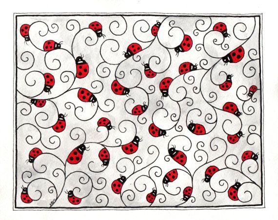 lady bug doodling | Ladybug doodle zentangle. | zenTangle Art