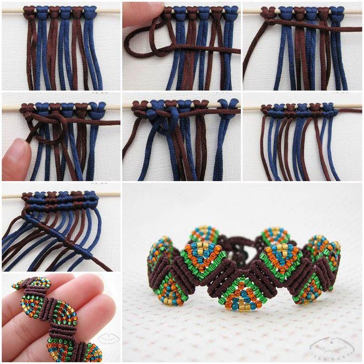 Creative Ideas - DIY Colorful Wave Macrame Beaded Bracelet | iCreativeIdeas.com  Follow Us on Facebook --> www.facebook.com/iCreativeIdeas