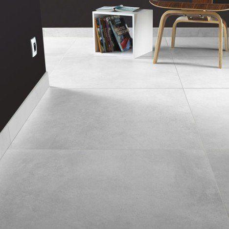 Carrelage sol et mur gris brume effet béton Live l.74.7 x L.74.7 cm