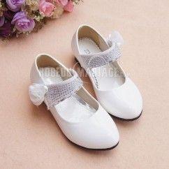 Simple fleur appliques satin chaussures de mariée pour fille