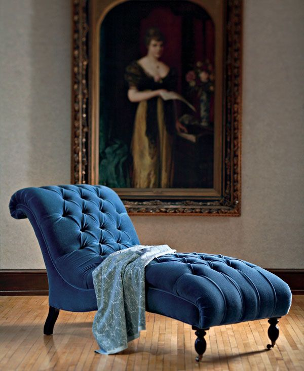 Blue Velvet Chaise by Mitchell Gold