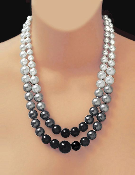 BLACK, WHITE & GREY Pearls, With Free Earrings and Free Shipping !!!