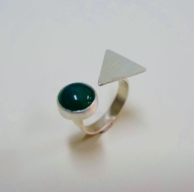 My hand made silver ring with green garnet stone
