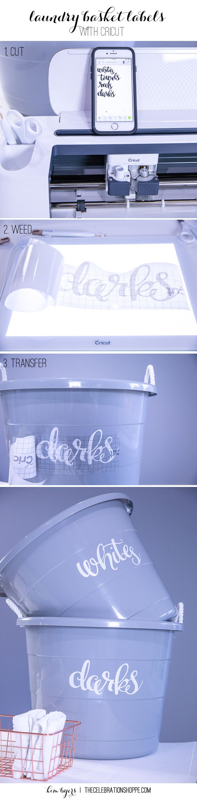 Learn To Make Easy Laundry Basket Labels With Your Cricut | Kim Byers TheCelebrationShoppe.com