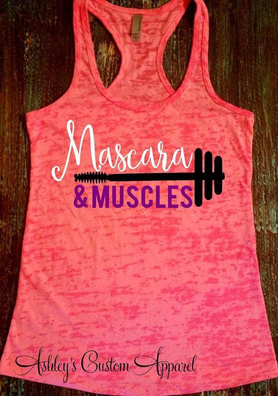 Muskeln und Wimperntusche – Fitness Motivation – Workout Tank – Mascara Shirt – Damen Workout Shirt – Mot