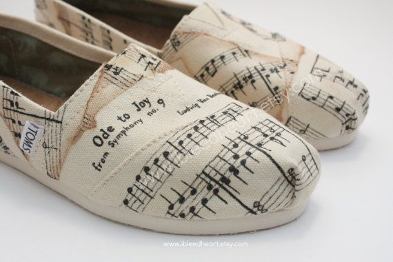 Adult Custom Painted TOMS Shoes Musical Notes with by ibleedheART