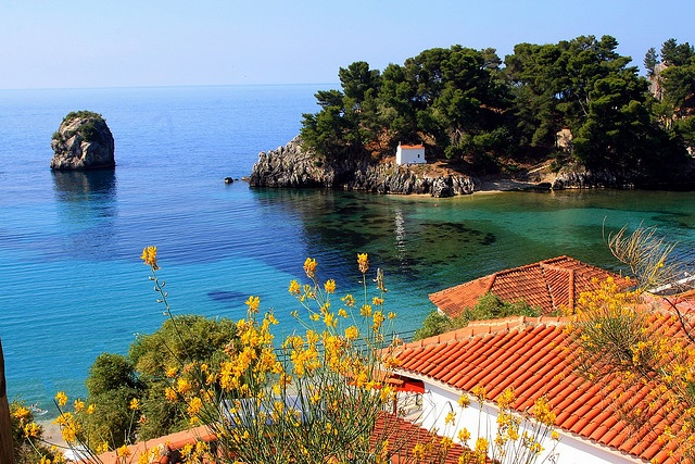 Scenery, Parga, Epirus. Red tiled roofs and islet with small chapel. Parga, Epirus, Ionian, Greece (By Marite2007)