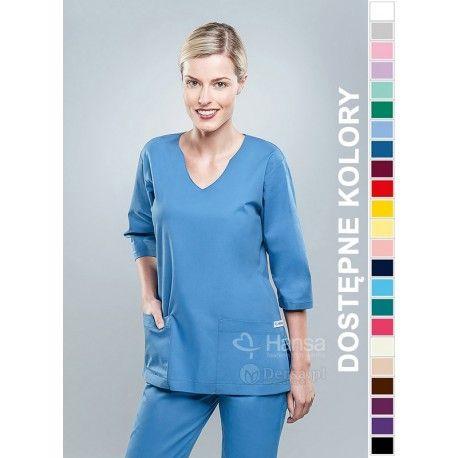 Odzież medyczna dla kobiet. | Bluza damska kolorowa 1804 - z pewnością będzie to strzał w 10-tkę dla pielęgniarek i lekarzy. | Sklep internetowy Dersa |