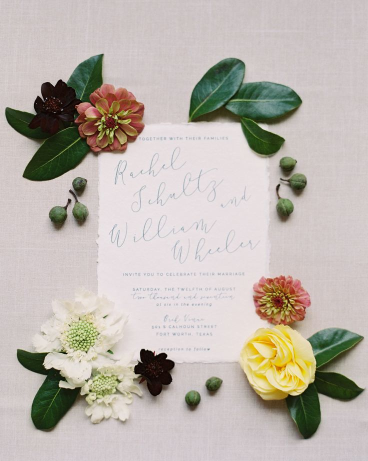 simple calligraphy wedding invitations |   Floral design: http://queryevents.com | Photography: http://www.stephaniebrazzle.com | Read More: http://www.stylemepretty.com/2017/12/27/lush-indoor-garden-wedding-with-a-rainy-exit/